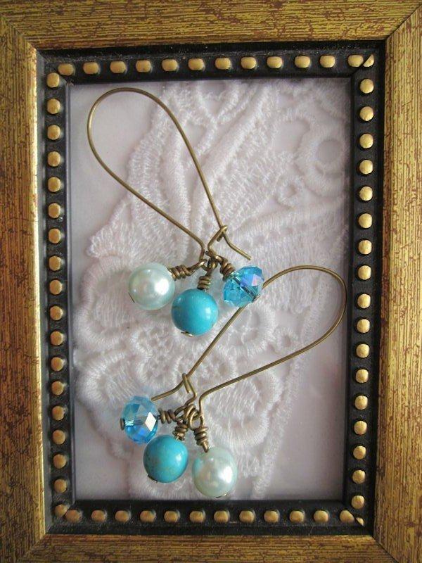 Handmade Light Blue Gem Trio Bronze Earrings, Free U.S. Shipping!