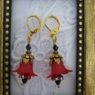 Handmade Gorgeous Red Flower Golden Earrings, Free U.S. Shipping!