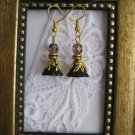 Handmade Dark Purple Flower Gold Tone Earrings, Free U.S. Shipping!