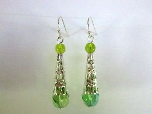 Handmade Light Green Helix Cut Glass and Filigree Silver Cone Earrings