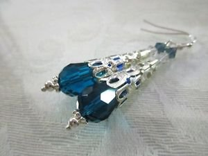 Handmade Peacock Blue Faceted Drop Glass Long Filigree Stem Silver Tone Earrings