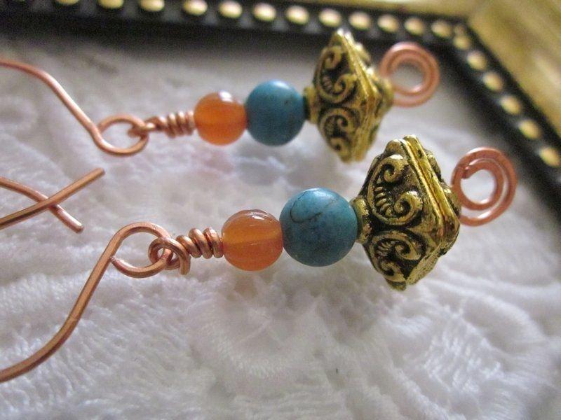 Treasure Box Copper Earrings, Free Ship!