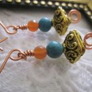 Treasure Box Copper Earrings, Free Ship!
