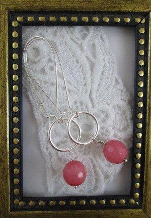 Handmade Milky Pink Jade & Silver Tone Hoop Earrings, Free U.S. Ship!
