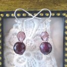 Handmade Purple Alexandrite and Czech Glass Silver Tone Earrings