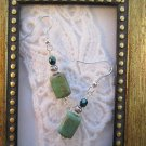 Rectangle Rustic Turquoise Green Glass Silver Tone Earrings