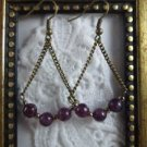 Handmade Purple Alexandrite Antique Bronze Tone Earrings