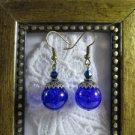 Purple Marble Glass Antique Bronze Tone Earrings