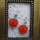 Jack-O'-Lantern Halloween Pumpkin and Czech Glass Sterling Silver Earrings