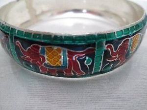 New Bangle Bracelet, Indian Red Elephant, Wood & Metal Combo Free U.S. Shipping!