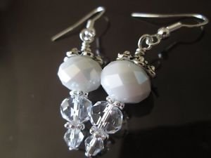 Handmade Snow and Icicle Faceted Crystal Silver Tone Earrings, Free U.S. Ship!