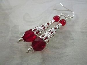 Handmade Red Czech Faceted Glass Drop and Filigree Silver Cone Earrings