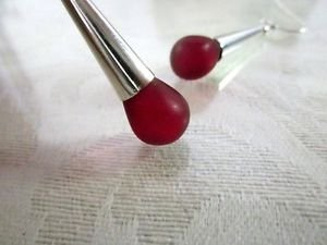 Handmade Frosted Red Czech Glass Drop Bead and Smooth Silver Cone Earrings