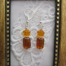 Amber Orange Czech Flower & Rectangle Sterling Earrings, Free Shipping!