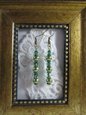 Pearl & Crystal Wand Bronze Tone Earrings