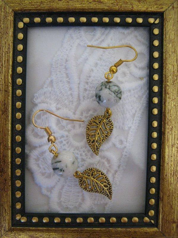 White/Green Gemstone w/ Gold Tone Leaf Earrings, Free U.S. Shipping!!