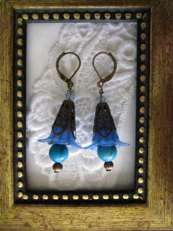 Dark Blue Bronze Tone Floral Earrings, Free Shipping!