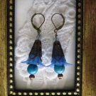 Dark Blue Bronze Tone Floral Earrings, Free Shipping!