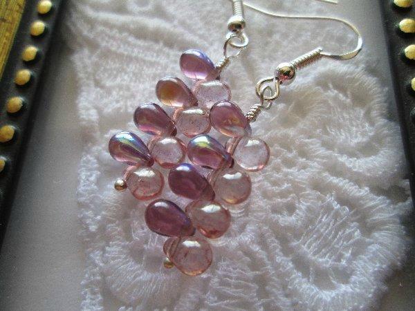 Light Purple Grape Mist Earrings, Free U.S. Ship!