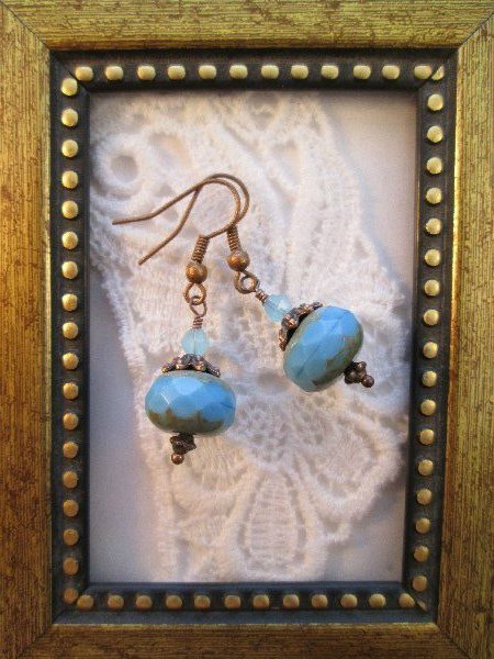 Blue Czech Picasso Glass Copper Tone Earrings, Free Shipping!