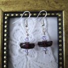 Handmade Amethyst Purple Glass Disc & Crystal Sterling Silver Earrings
