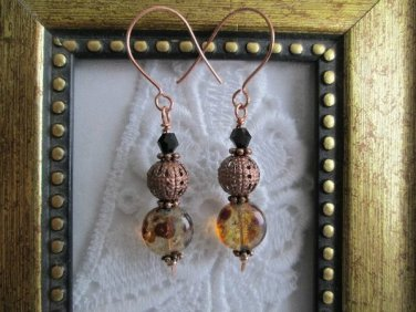 Handmade Picasso Brown Copper Earrings, Free U.S. Ship