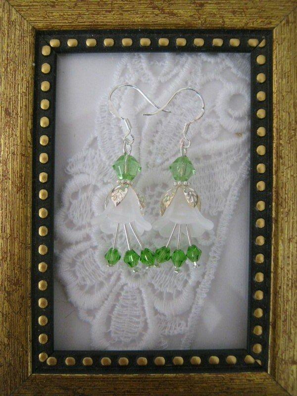 White Flower & Green Crystal Earrings, Free Shipping!