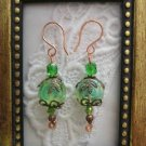 Light Green Jelly Roll Czech Glass Earrings, Free Shipping!
