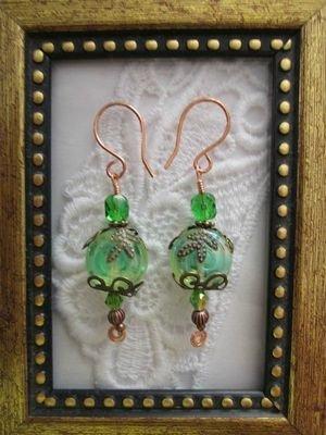 Light Green Jelly Roll Czech Glass Earrings, Free Shipping!