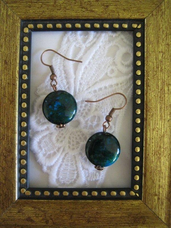 Puffy Round Green Chrysocolla Earrings, Free Ship!