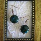 Puffy Round Green Chrysocolla Earrings, Free Ship!
