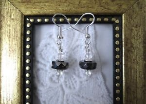 Handmade Silverly Black Czech Glass Disc & Crystal Sterling Silver Earrings