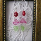 Light Fuschia Pink Flower & Lady Bug Earrings, Free Shipping!