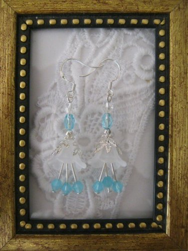 White Flower & Light Blue Crystal Earrings, Free Shipping!