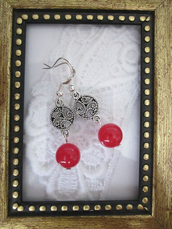 Handmade Round Ruby Silver Tone Earrings, Free Ship!