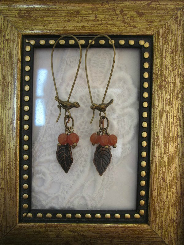 Bird & Orange Berry Bronze Tone Hoop Earrings, Free Shipping!