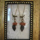 Bird & Orange Berry Bronze Tone Hoop Earrings, Free Shipping!