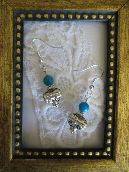 Handmade Tibetan Treasure Box & Blue Bead Earrings, FREE SHIP!