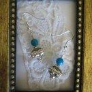 Handmade Tibetan Treasure Box & Blue Bead Earrings, FREE SHIP!