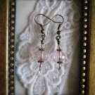 Sparkly Pink Crystal Antique Tone Earrings, Free Ship!