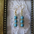 Handmade Blue Howlite Turquoise Gold Tone Earrings, Free U.S. Shipping!