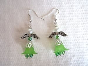 Handmade Guardian Angel / Fairy Pearly Earrings, Glass & Acrylic Flower Beads,
