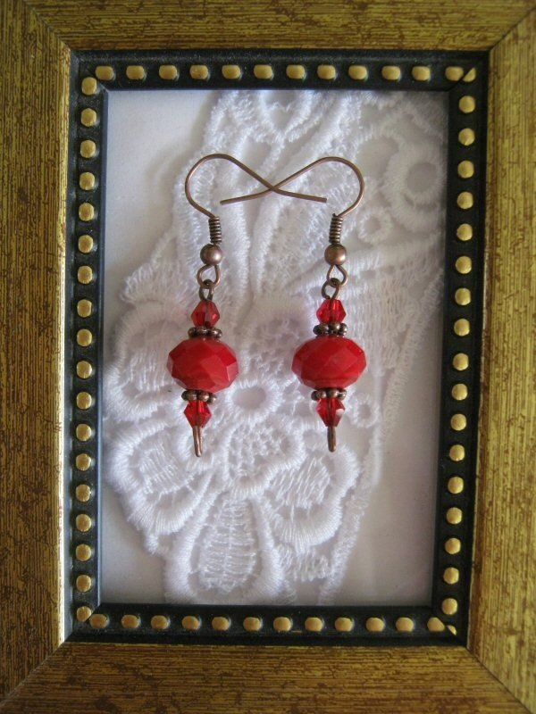 True Red Crystal Earrings, Free Ship!