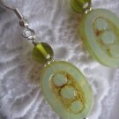 Milky Green Dotted Oval Czech Glass Earrings, Free U.S. Ship