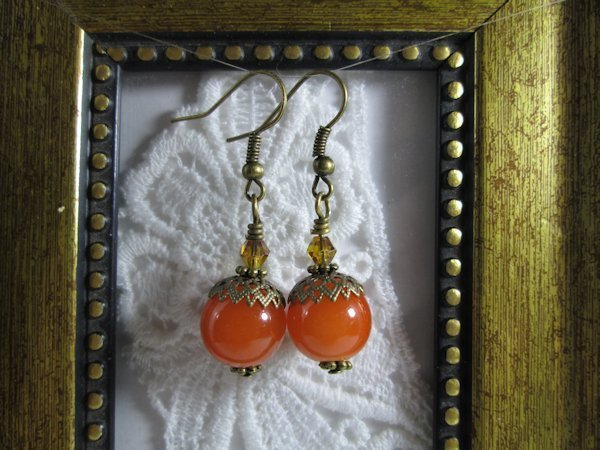 Handmade Nostalgic Opaque Orange Glass Bronze Tone Earrings
