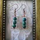 Green Azurite Chrysocolla Beads Copper Square Earrings, Free U.S. Shipping!