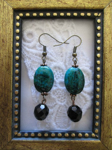 Oval Green Azurite and Black Czech Glass Earrings, FREE SHIP!