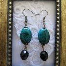Oval Green Azurite and Black Czech Glass Earrings, FREE SHIP!