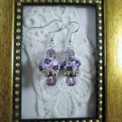 Handmade White & Purple Glass Charm Silver Tone Earrings