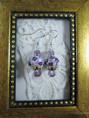 Handmade White & Purple Glass Charm Silver Tone Earrings